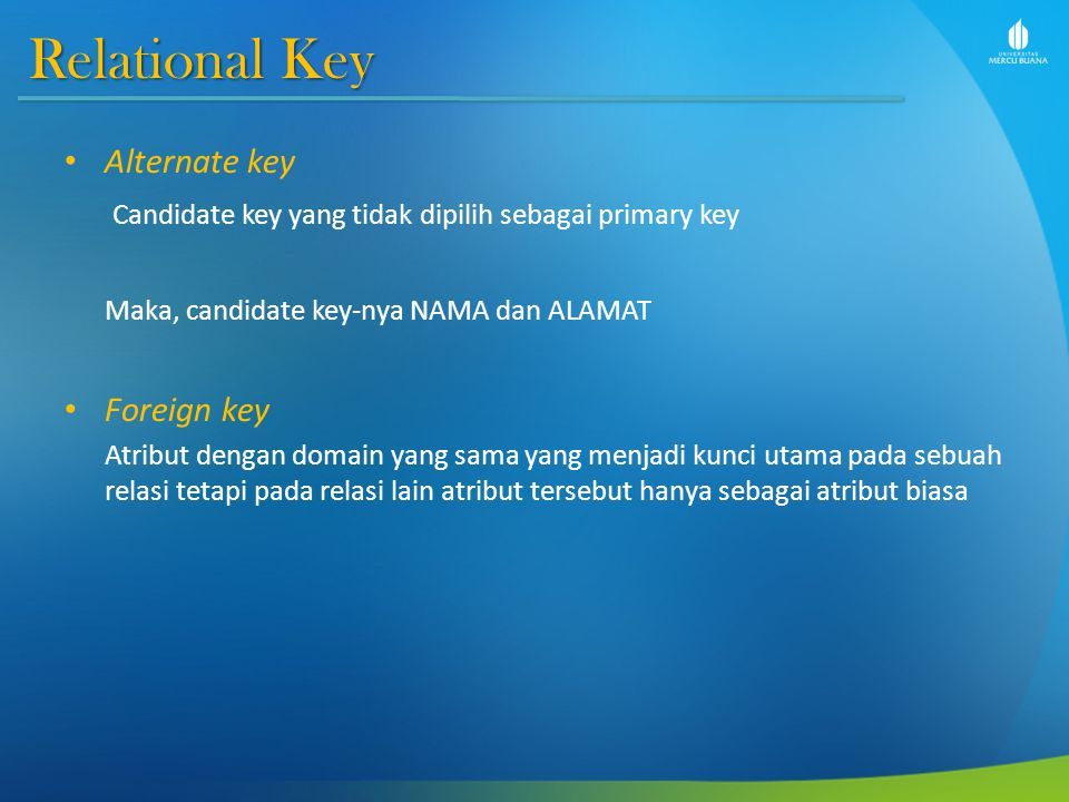 Relational Key Alternate key