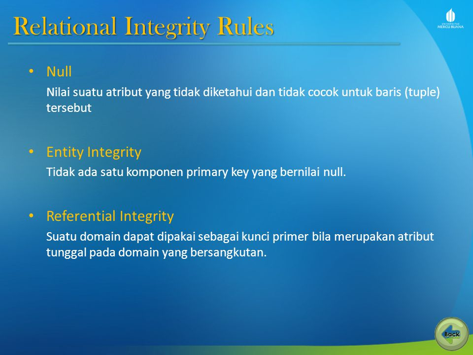 Relational Integrity Rules