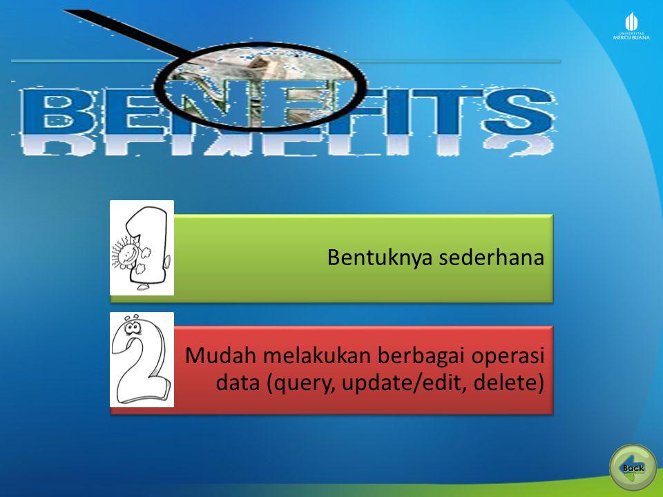 Bentuknya sederhana Mudah melakukan berbagai operasi data (query, update/edit, delete)