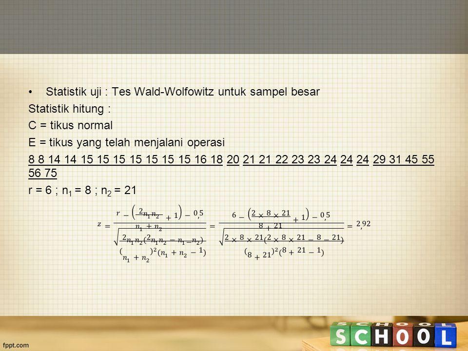 Statistik uji : Tes Wald-Wolfowitz untuk sampel besar
