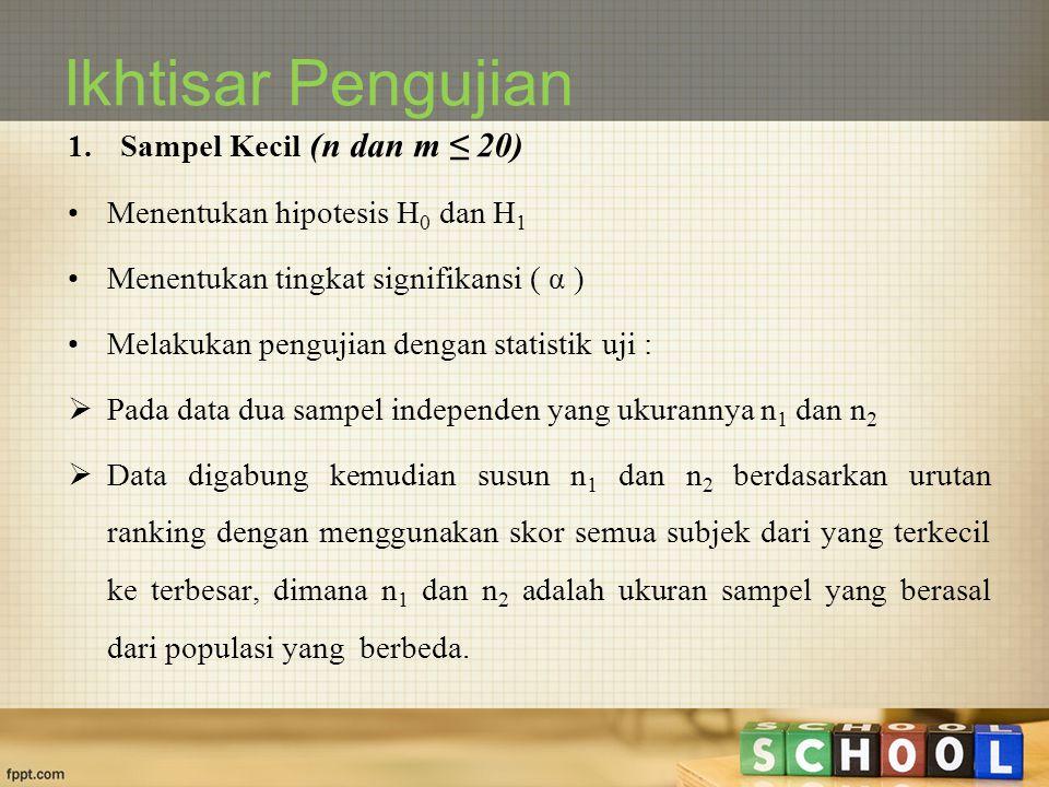 Ikhtisar Pengujian Sampel Kecil (n dan m ≤ 20)