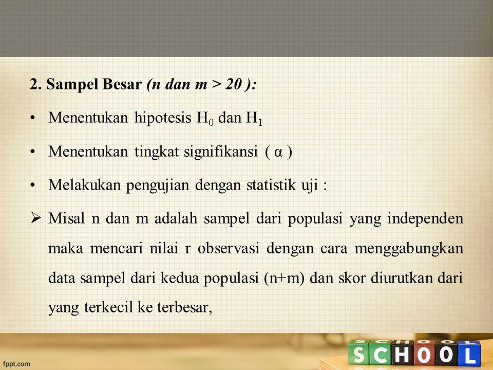 2. Sampel Besar (n dan m > 20 ):