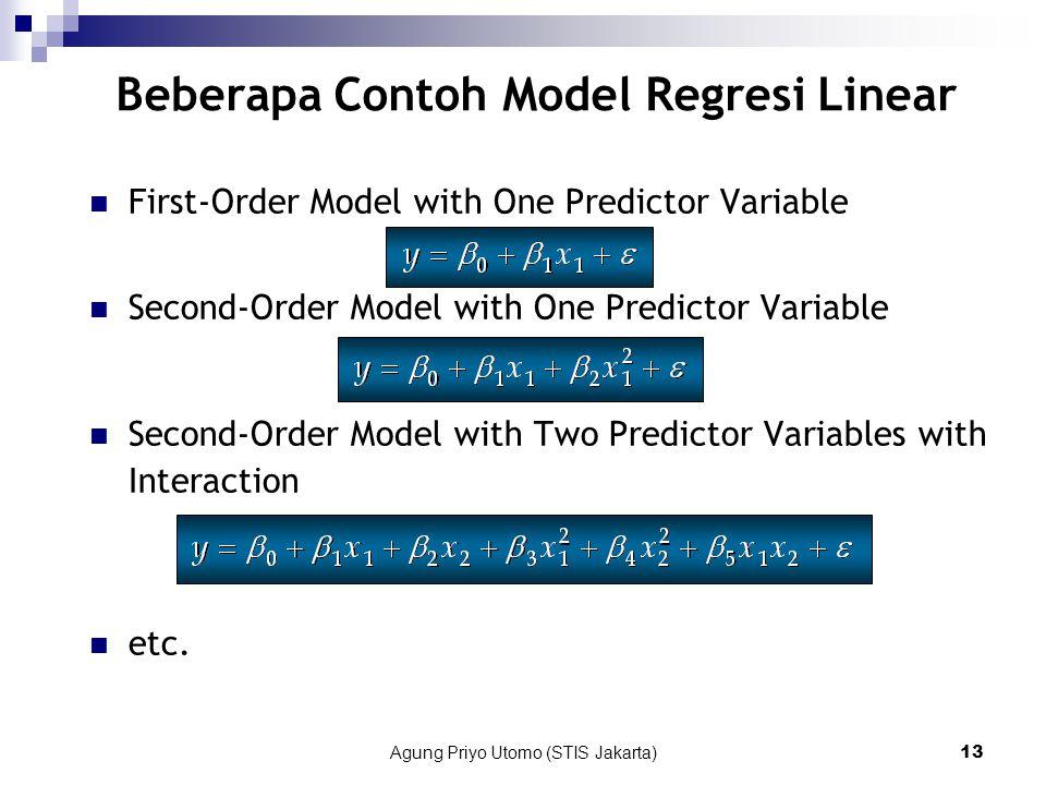 Beberapa Contoh Model Regresi Linear