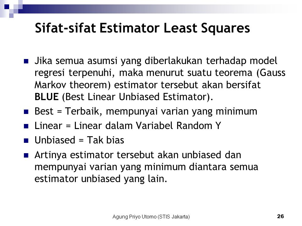 Sifat-sifat Estimator Least Squares
