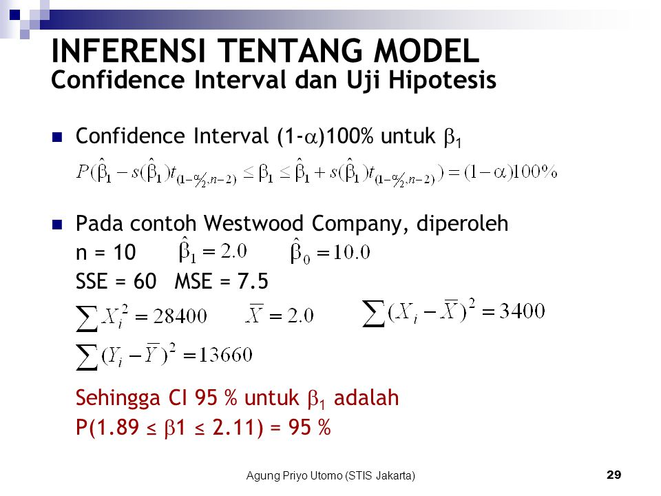 INFERENSI TENTANG MODEL Confidence Interval dan Uji Hipotesis
