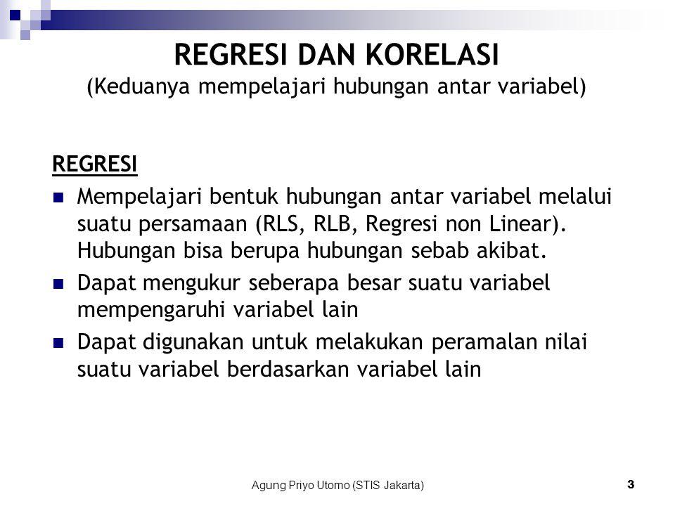 REGRESI DAN KORELASI (Keduanya mempelajari hubungan antar variabel)