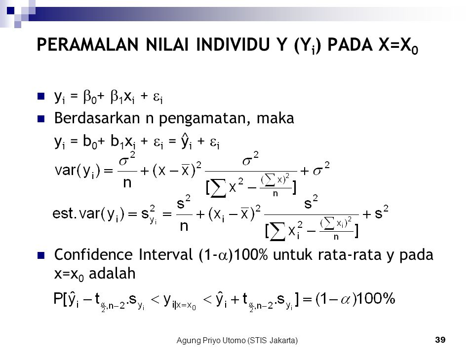 PERAMALAN NILAI INDIVIDU Y (Yi) PADA X=X0