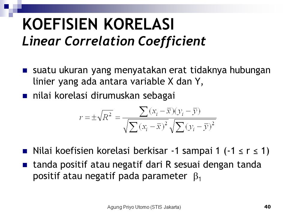 KOEFISIEN KORELASI Linear Correlation Coefficient