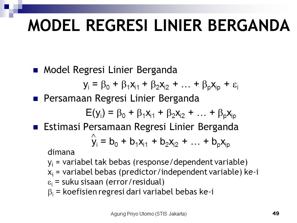 MODEL REGRESI LINIER BERGANDA