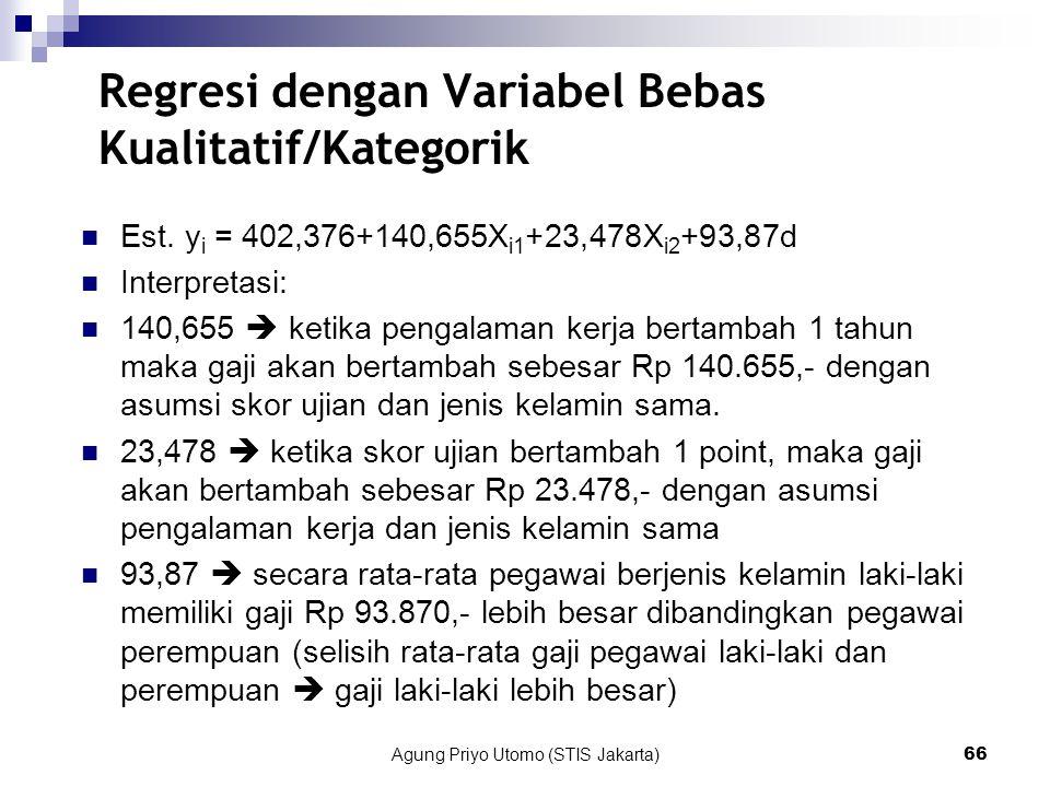 Regresi dengan Variabel Bebas Kualitatif/Kategorik