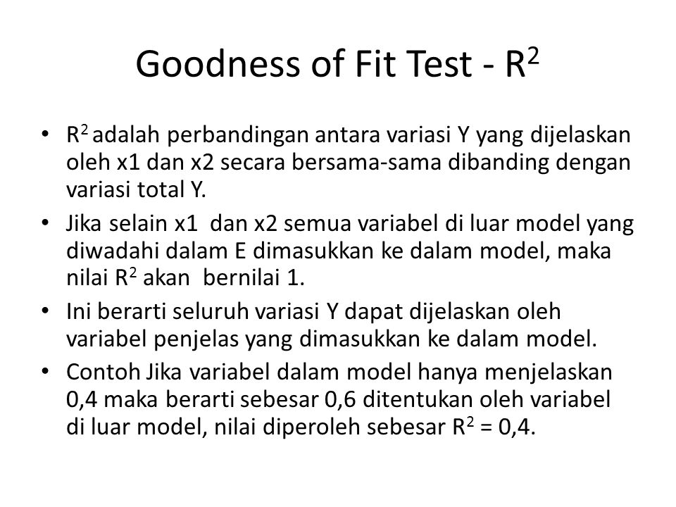 Goodness of Fit Test - R2