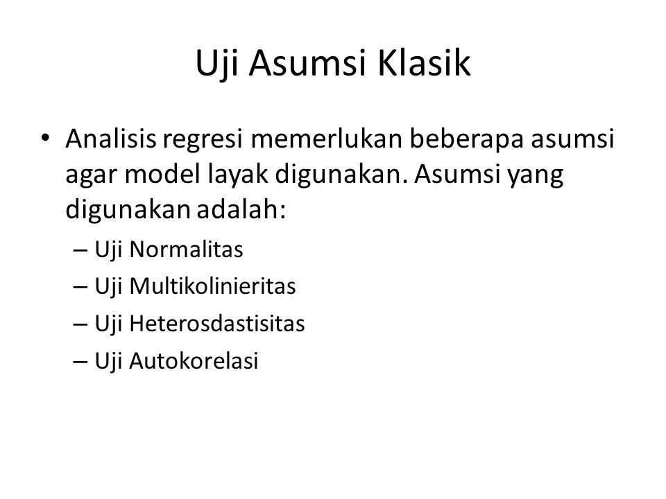 Uji Asumsi Klasik Analisis regresi memerlukan beberapa asumsi agar model layak digunakan. Asumsi yang digunakan adalah: