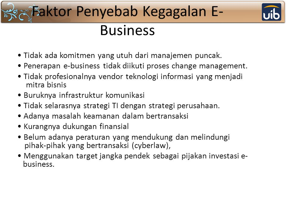 Faktor Penyebab Kegagalan E-Business