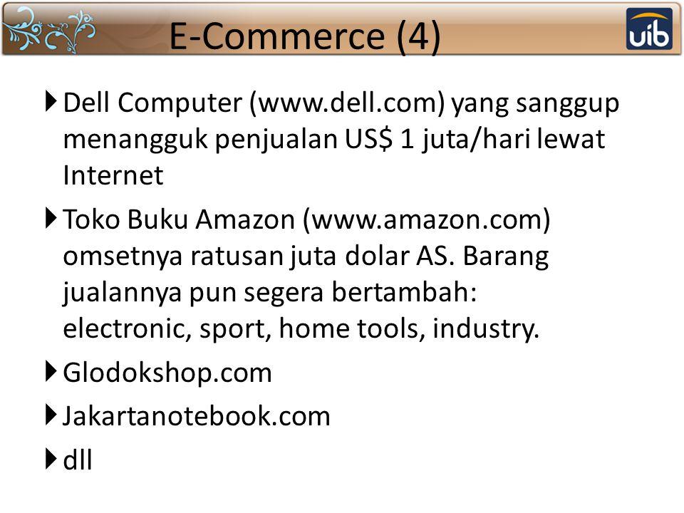 E-Commerce (4) Dell Computer (www.dell.com) yang sanggup menangguk penjualan US$ 1 juta/hari lewat Internet.