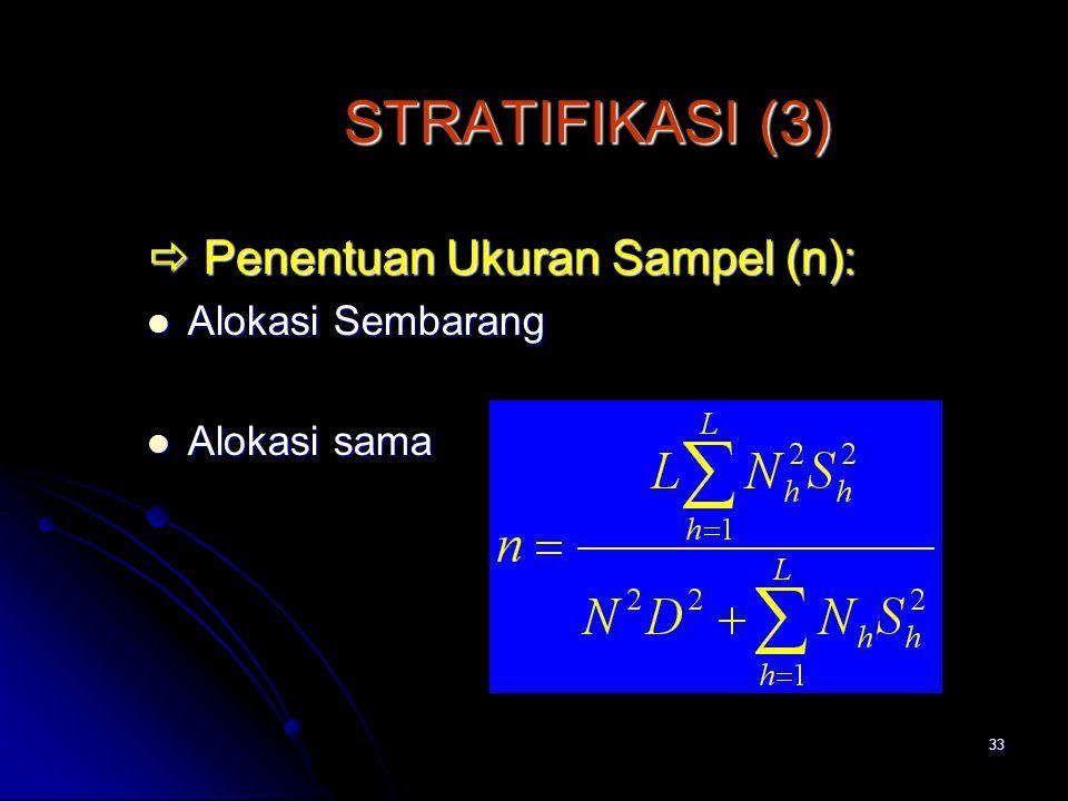 STRATIFIKASI (3)  Penentuan Ukuran Sampel (n): Alokasi Sembarang