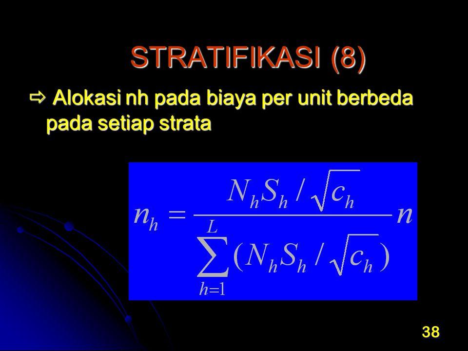 STRATIFIKASI (8)  Alokasi nh pada biaya per unit berbeda pada setiap strata