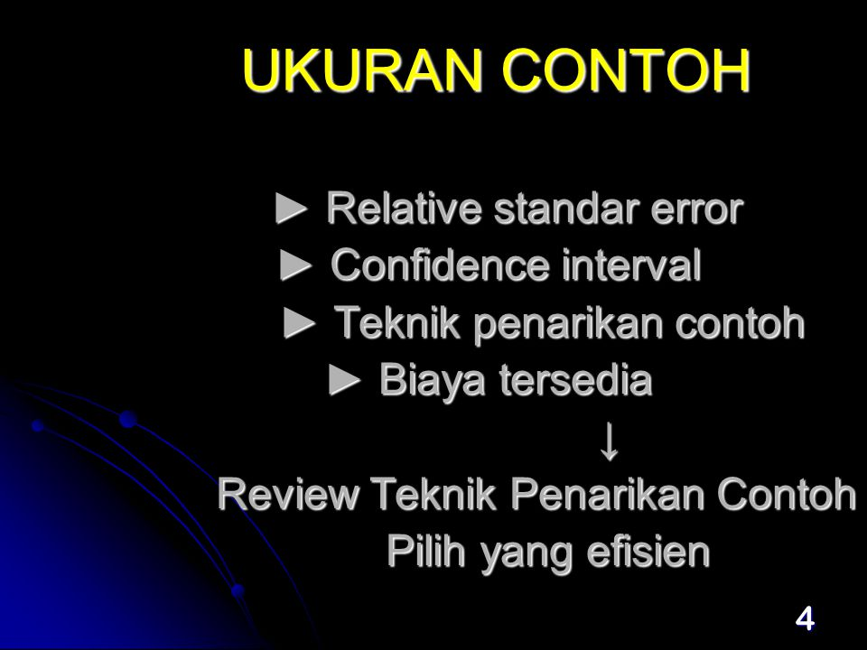 UKURAN CONTOH ► Relative standar error ► Confidence interval