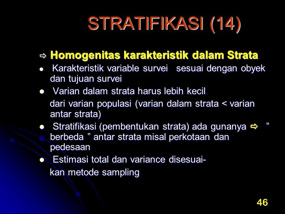 STRATIFIKASI (14) Homogenitas karakteristik dalam Strata