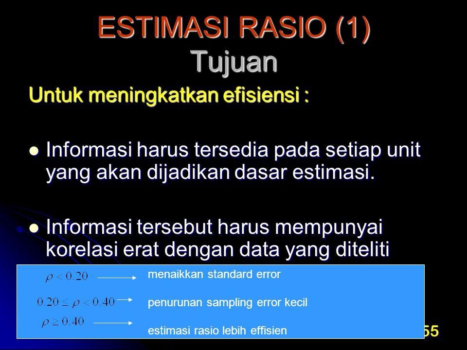 ESTIMASI RASIO (1) Tujuan