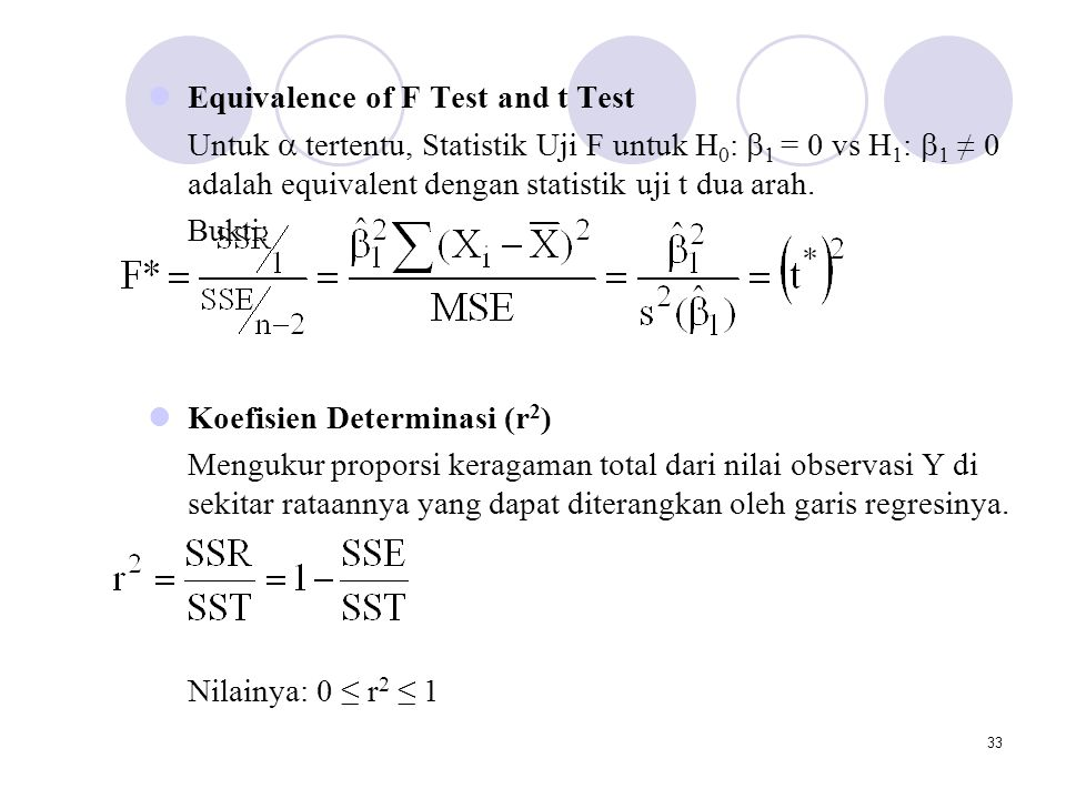 Equivalence of F Test and t Test
