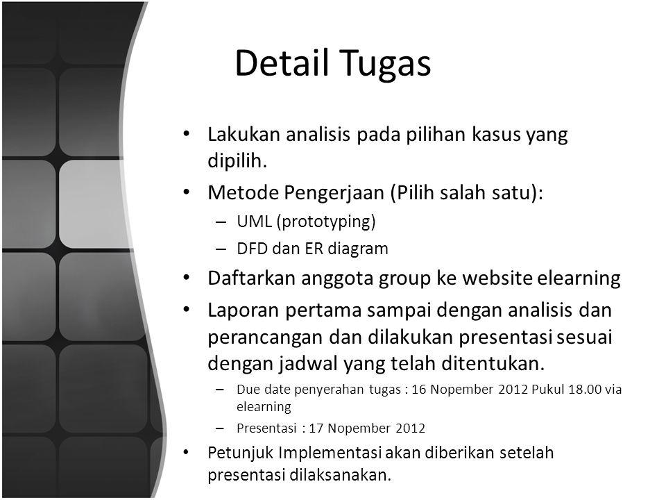 Detail Tugas Lakukan analisis pada pilihan kasus yang dipilih.