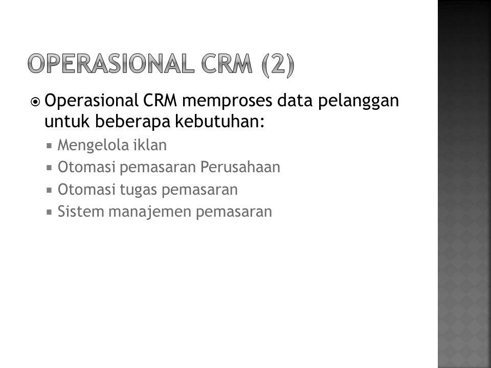 Operasional CRM (2) Operasional CRM memproses data pelanggan untuk beberapa kebutuhan: Mengelola iklan.