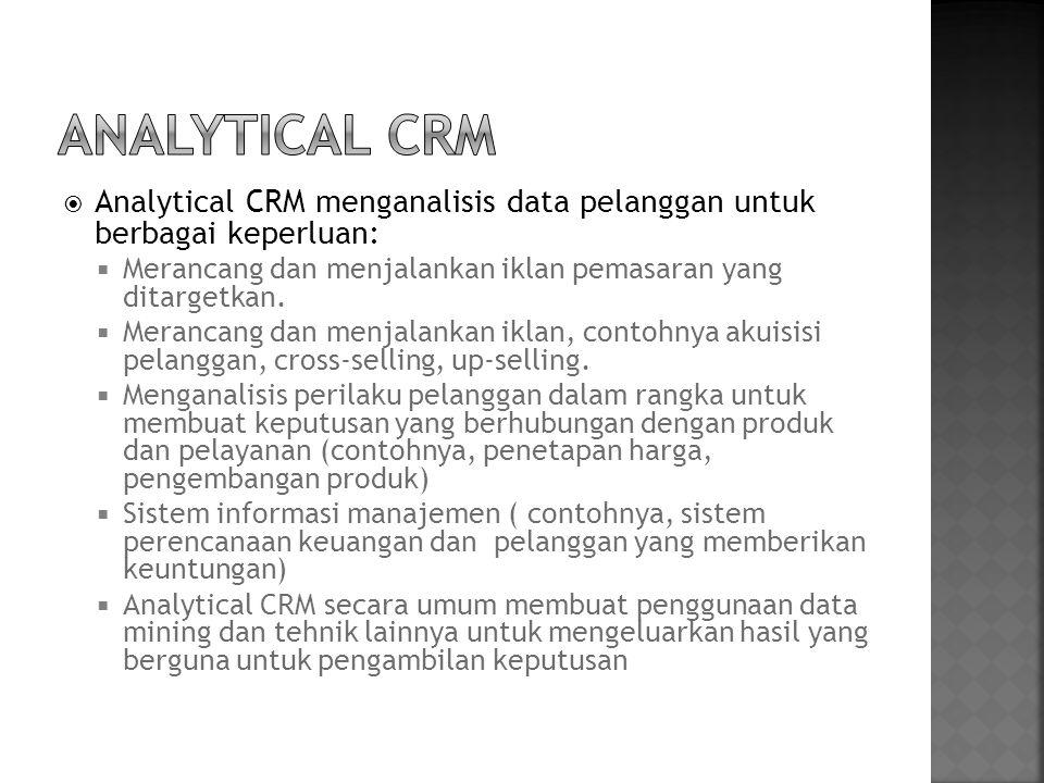Analytical CRM Analytical CRM menganalisis data pelanggan untuk berbagai keperluan: Merancang dan menjalankan iklan pemasaran yang ditargetkan.