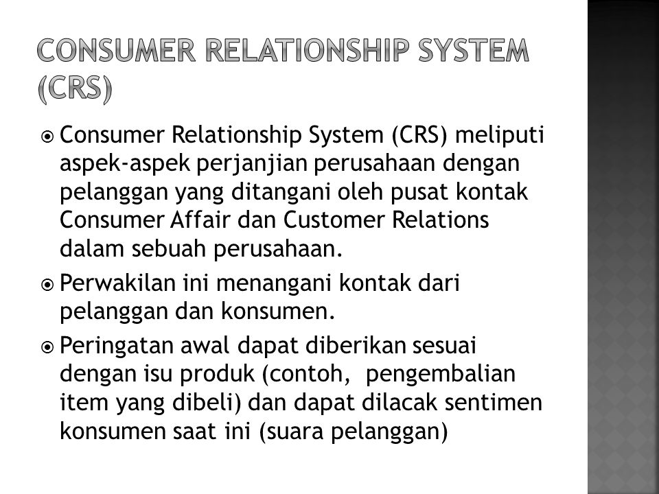Consumer Relationship System (CRS)