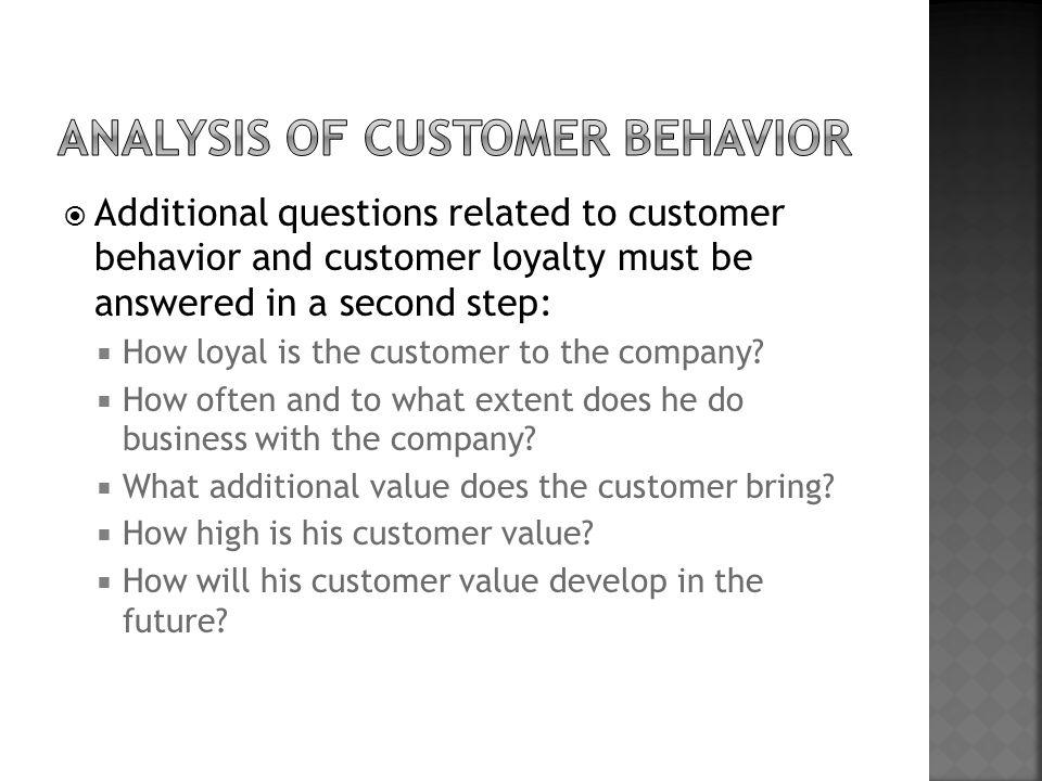 analysis of customer behavior