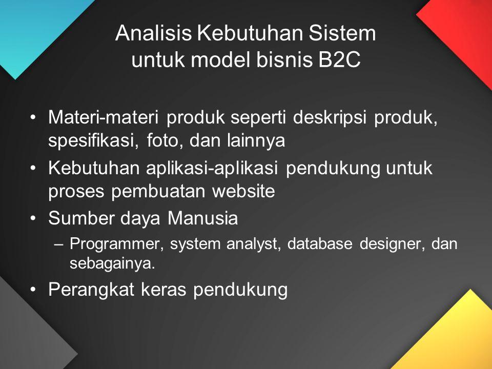 Analisis Kebutuhan Sistem untuk model bisnis B2C