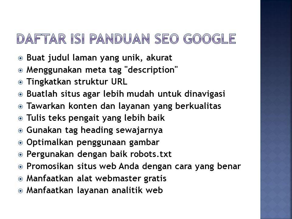 Daftar isi panduan SEO Google