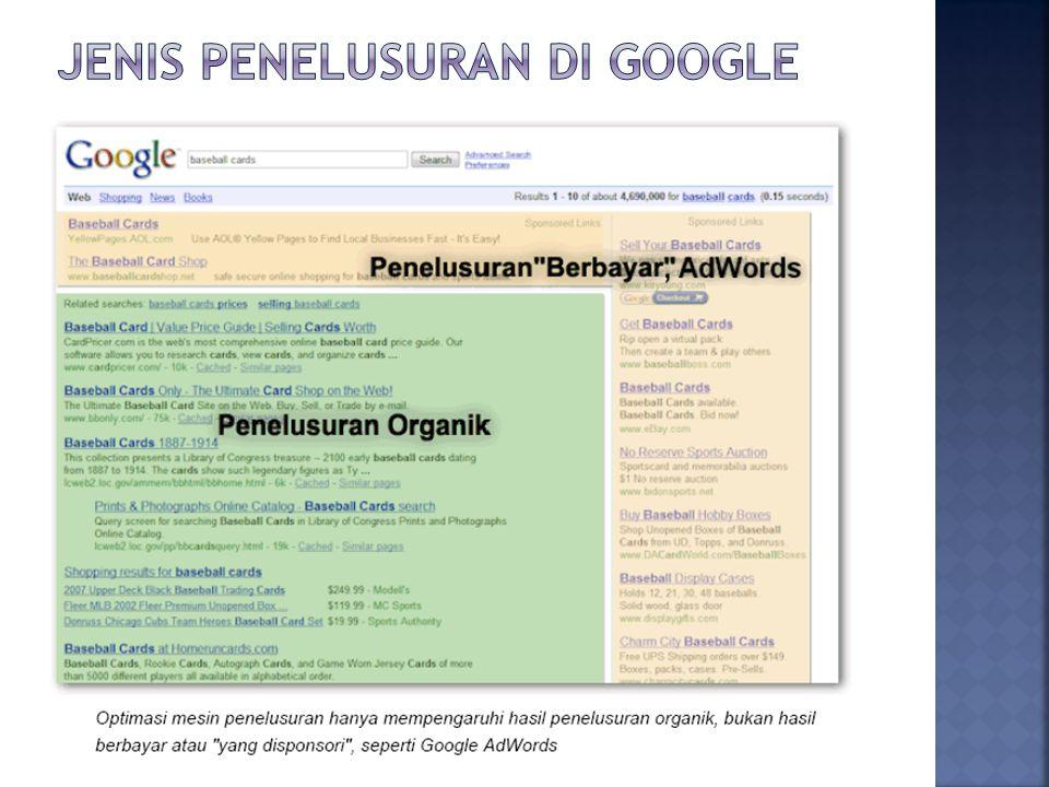 Jenis penelusuran di Google