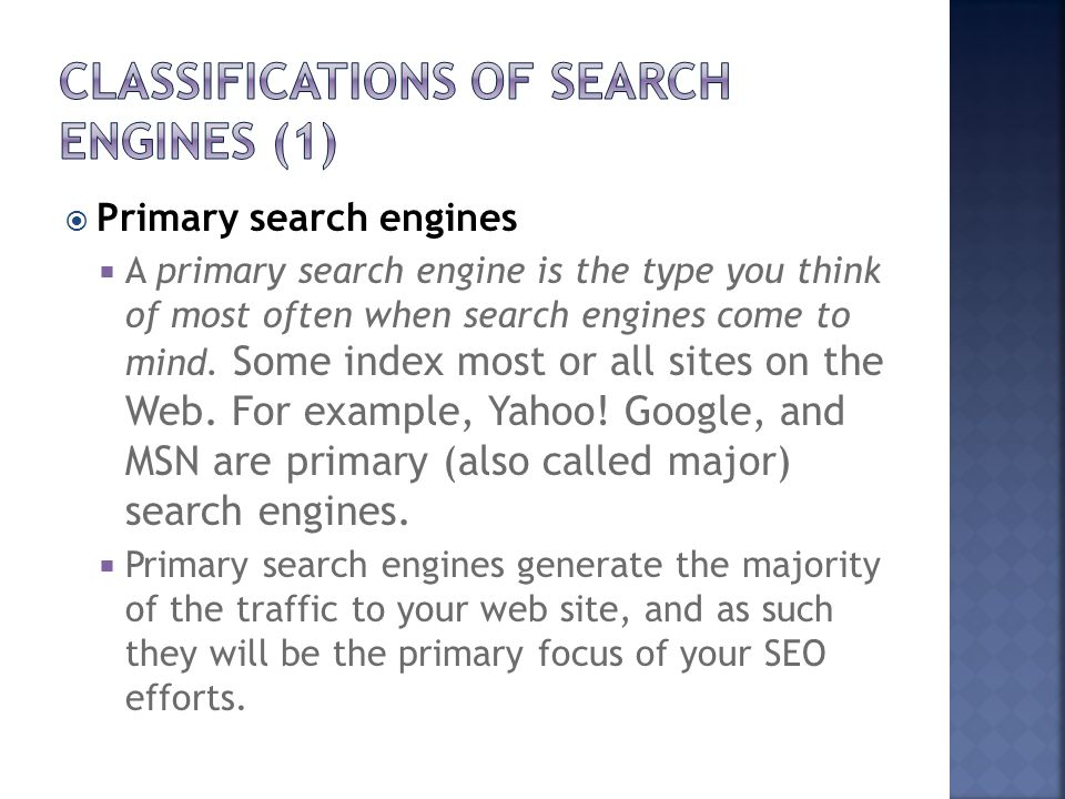 Classifications of Search Engines (1)