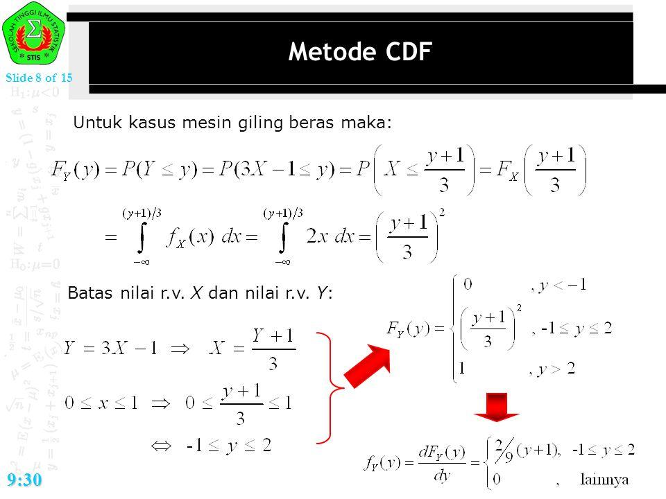 Metode CDF 9:30 Untuk kasus mesin giling beras maka: