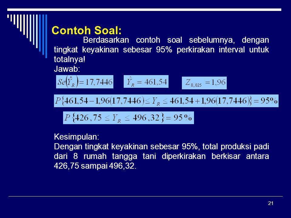 Contoh Soal: Berdasarkan contoh soal sebelumnya, dengan tingkat keyakinan sebesar 95% perkirakan interval untuk totalnya!
