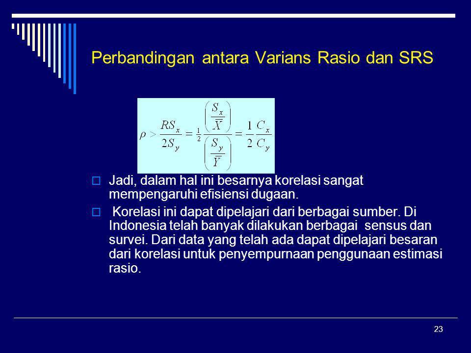 Perbandingan antara Varians Rasio dan SRS