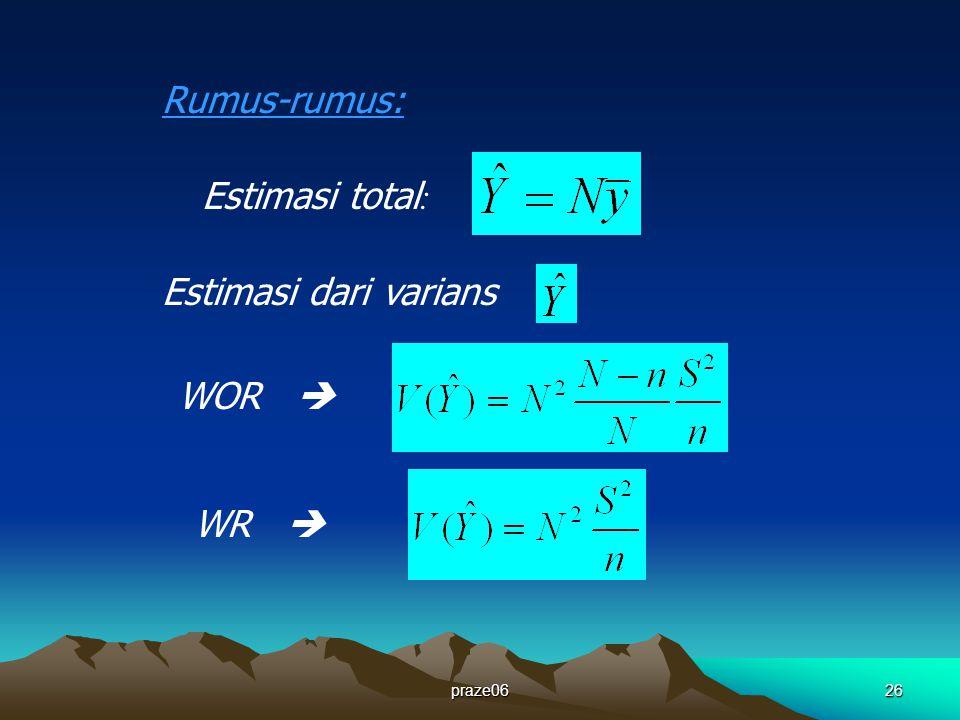 Estimasi dari varians :