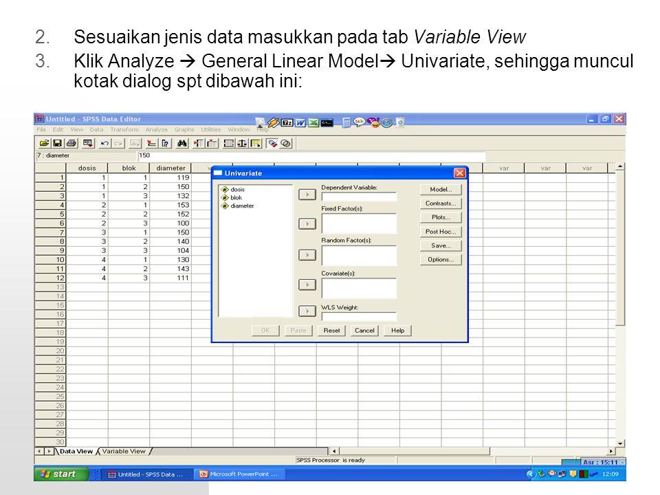 Sesuaikan jenis data masukkan pada tab Variable View