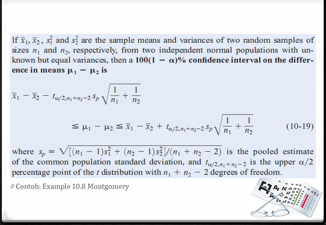 Contoh: Example 10.8 Montgomery