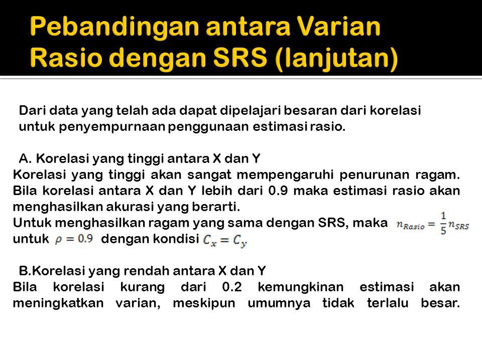 Pebandingan antara Varian Rasio dengan SRS (lanjutan)