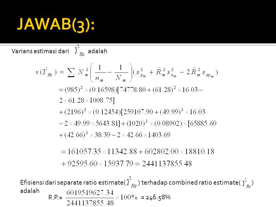 JAWAB(3): Varians estimasi dari adalah