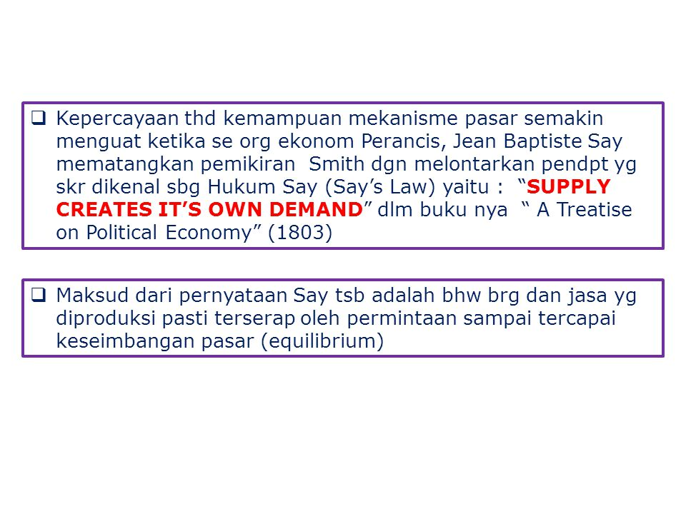 Kepercayaan thd kemampuan mekanisme pasar semakin menguat ketika se org ekonom Perancis, Jean Baptiste Say mematangkan pemikiran Smith dgn melontarkan pendpt yg skr dikenal sbg Hukum Say (Say's Law) yaitu : SUPPLY CREATES IT'S OWN DEMAND dlm buku nya A Treatise on Political Economy (1803)