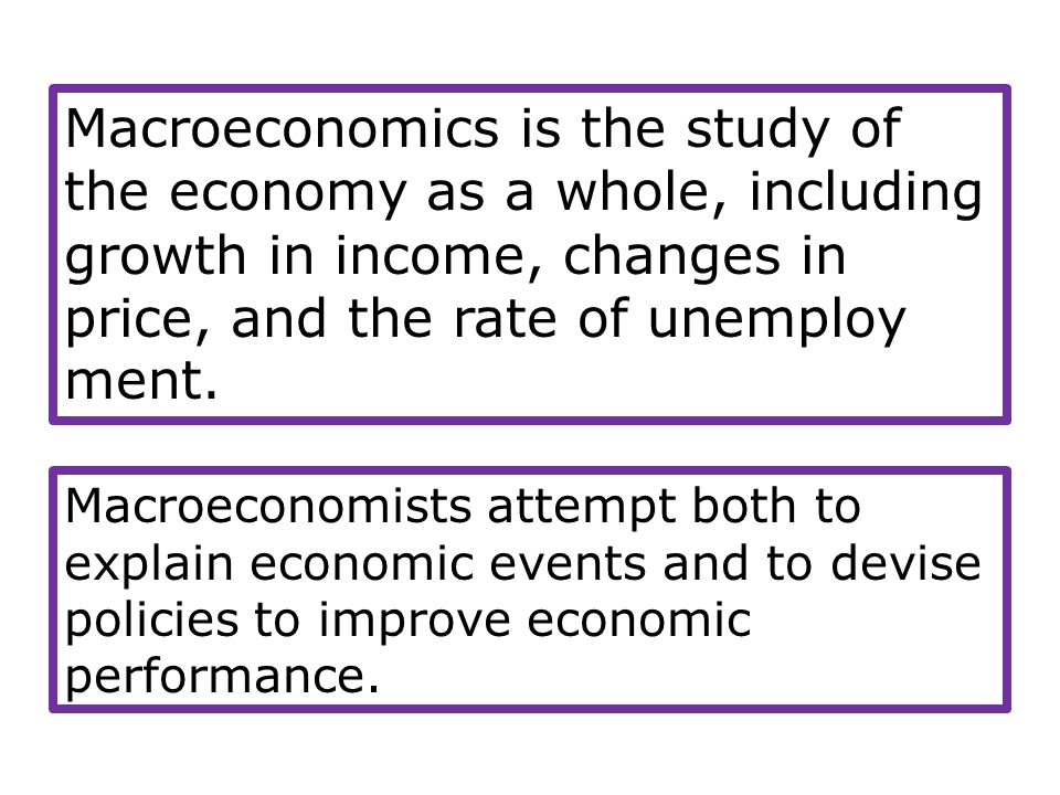 Macroeconomics is the study of the economy as a whole, including growth in income, changes in price, and the rate of unemploy ment.