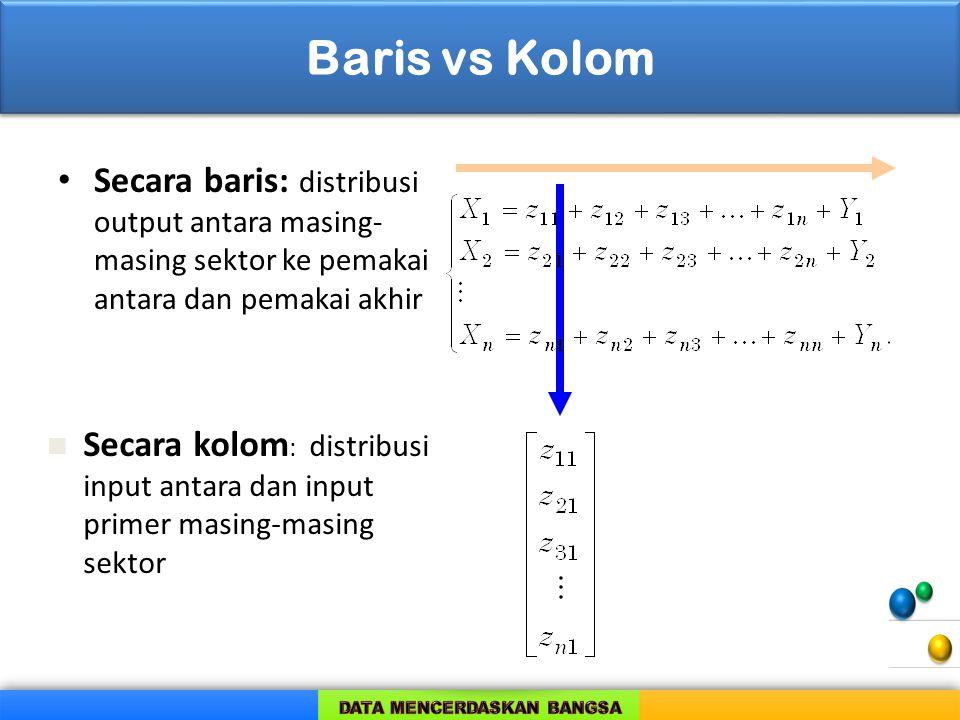Baris vs Kolom Secara baris: distribusi output antara masing-masing sektor ke pemakai antara dan pemakai akhir.