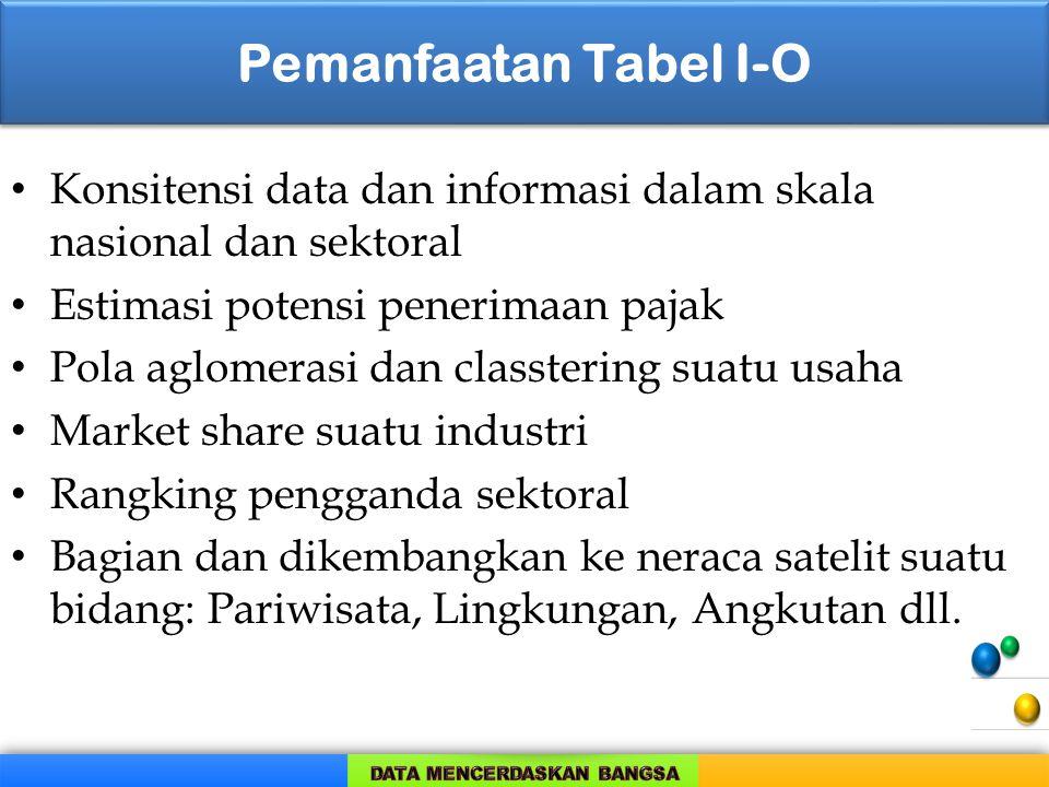 Pemanfaatan Tabel I-O Konsitensi data dan informasi dalam skala nasional dan sektoral. Estimasi potensi penerimaan pajak.