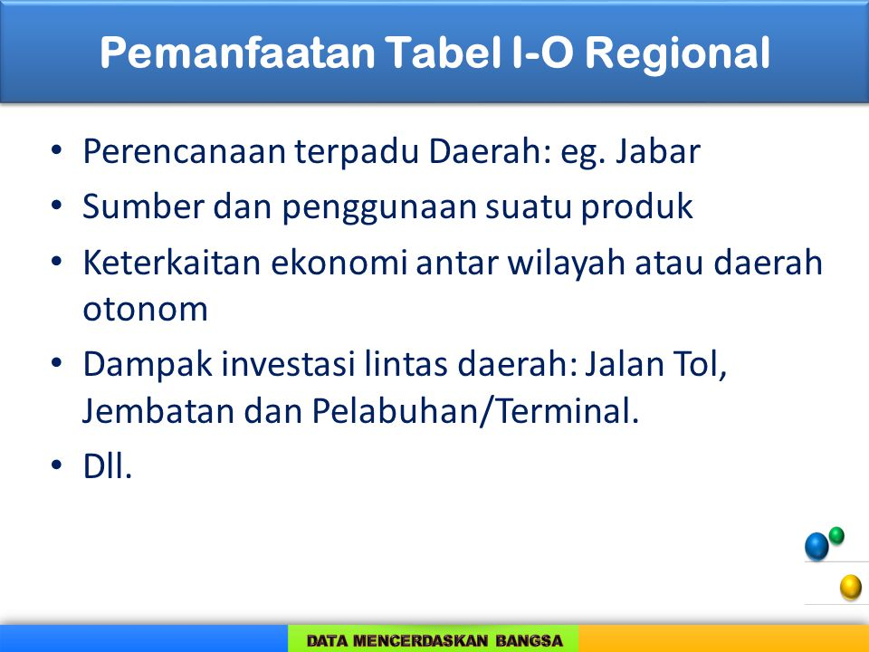 Pemanfaatan Tabel I-O Regional