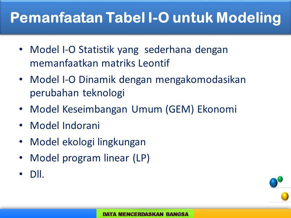 Pemanfaatan Tabel I-O untuk Modeling