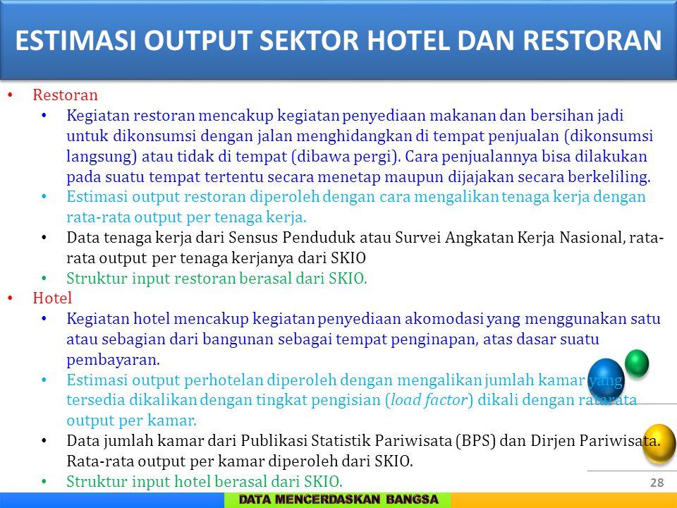 ESTIMASI OUTPUT SEKTOR HOTEL DAN RESTORAN