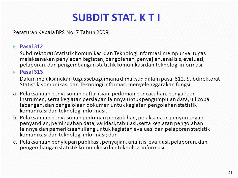 SUBDIT STAT. K T I Peraturan Kepala BPS No. 7 Tahun 2008 Pasal 312