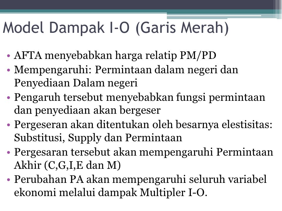Model Dampak I-O (Garis Merah)